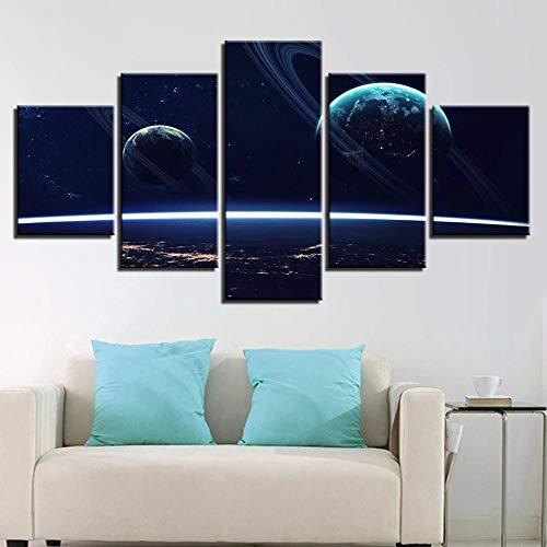 SYLZBHD Cuadros de arte de pared Póster Modular 5 piezas Universo Planetas Pinturas de lienzo abstractas Decoración de sala de estar y dormitorio Impresiones modernas 20x35 20x45 20x55cm Sin marco
