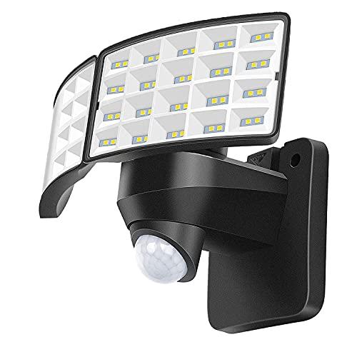 LUOWAN Luces de seguridad LED de 20 W, luz con sensor de movimiento para exteriores, 2400LM, 5500K, IP65 a prueba de agua, luz de inundación LED de movimiento de 2 cabezales para garaje(No solar)