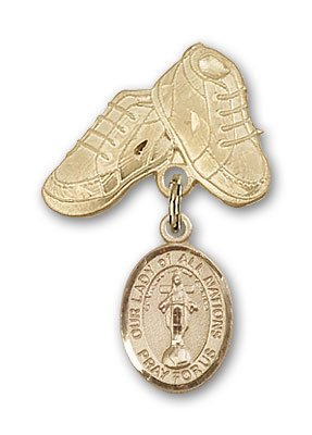 ReligiousObsession's 14K Gold Baby Badge with Our Lady of All Nations Charm and Baby Boots Pin