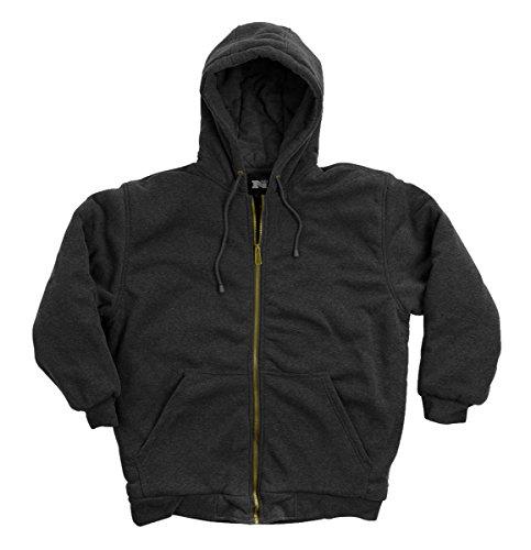 North 15 Men#039s Hooded Water Repellent Sweatshirt DTM Quilted Thermal Lined Zipper Front6310BlkXL Black