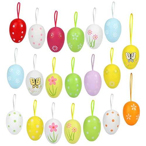 Ostereier Plastik, Plastik Eier Ostern, Ostereier Deko, Ostereier zum Aufhängen, Ostereier Kunststoff, Osterstrauchdeko, Ostereier aus Kunststoff mit Band, Größe: 6x4cm (20 Stück