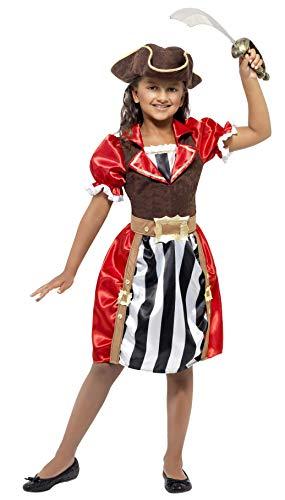 Smiffys Costume capitaine pirate fille, rouge, robe avec faux corset, chapeau et fausse ceinture