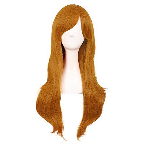 MapofBeauty 28 Zoll/70cm Langes Lockiges Seitenschläger Haarspitzen Kostüm Cosplay Perücke (Goldene Orange)