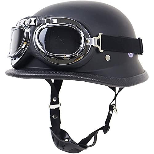 Casco de Moto Abiertos Retro Motocicleta Jet Casco Half-Helmet,Medio Casco ECE Certificado Cruiser Chopper Monopatín Ciclomotor Piloto Jet Casco Adulto B,M57~58cm