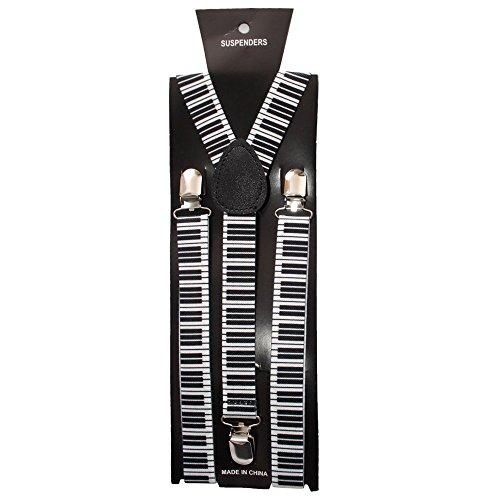 Runway Splash - Herren Damen Unisex Verstellbare Einfarbige Neon Totenkopf Muster Hosenträger - Einheitsgröße, Schwarz Weiß Klavier