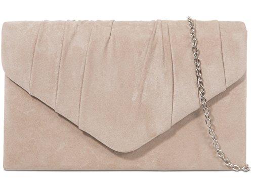 Fi9® - Bolso de mano de ante, plisado, liso, ideal para bodas, fiestas de graduación o de noche, color Beige, talla M