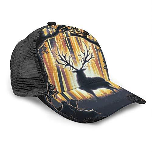 Inaayayi Cappellino da Baseball Unisex Deer God Master of The Forest Adulto Fashion cap Trucker Hat Regolabile Strap Back Nero