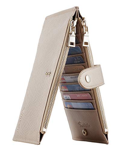 Travelambo Womens Walllet RFID Blocking Bifold Multi Card Case Wallet with Zipper Pocket Crosshatch (Rose gold)