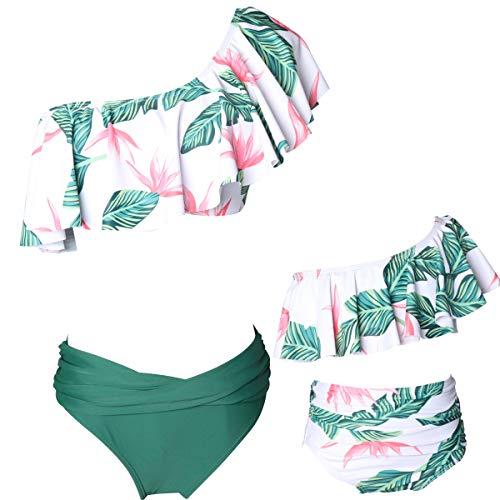 Dilicwa Madre e Hija Bikinis Traje de baño Padre-Hijo Bikini Traje de Baño, Mamá bebé Bañadores de Mujer de Verano Playa. (6-8T, Verde-niña)