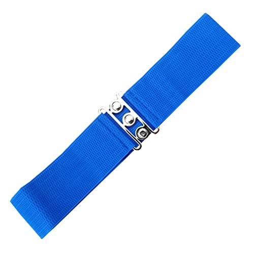 Banned Damen Taillen Stretch Gürtel - Vintage Bond Kleidgürtel Schwarz | Weiß | Rot 7cm breit (L, Blau)