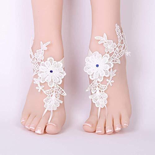 XIANGAI Mariage Sexy Dentelle aux Pieds Nus Sandales de Plage de Mariage Blanc Bijoux Sexy Cheville Chaussures de Mariage