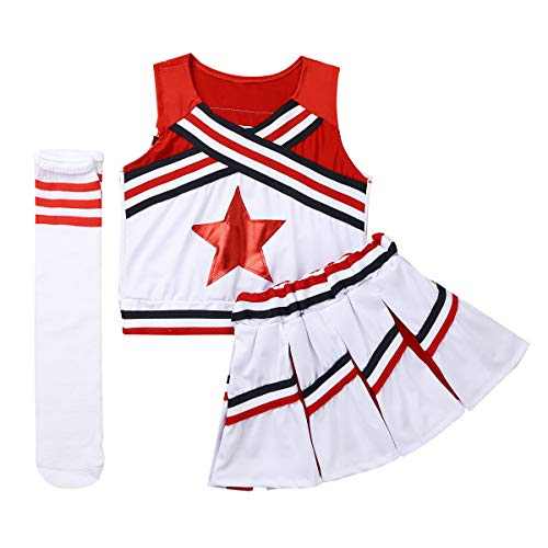 CHICTRY Mädchen Cheerleaderin Cheerleading Kostüm Uniform Ärmellos Tank Tops mit Minirock Socken Karneval Fasching Party Halloween Tanz Kostüm Rot 152-164/12-14 Jahre