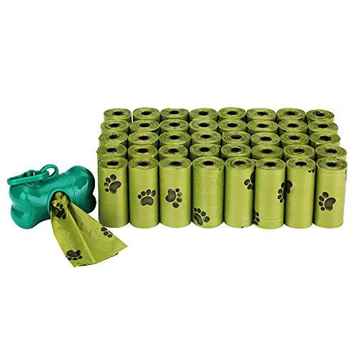 AIXMEET Bolsas biodegradables para Caca de Perro, 40 Rollos (600 Bolsas) Completamente a Prueba de Fugas, Bolsas ecológicas para residuos de Perros, 1 dispensador