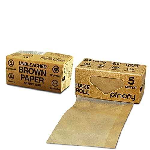 PINOFY Papers Set | 12 Ungebleichte Rolls + 6 Longpapes inkl. Tips + 2 Hüllen | Endlos Papes + King Size Slim Blättchen | Big Box Drehpapier | Rolling Endlospapes Long for Smoking | Endlosrollen