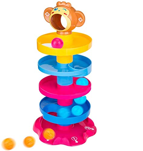 wirescorts 5 layer ball drop and roll swirling tower for baby and toddler development educational toys | stack, drop and go ball ramp toy set includes 3 spinning acrylic activity balls- Multi color