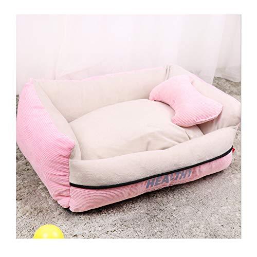 BORNET Cama para Perros/Cama para Gatos Peluche para Perros Cálido Cómodo Cuadrado Cojín Desmontable para Mascotas/Cama para Mascotas,Pink-XL