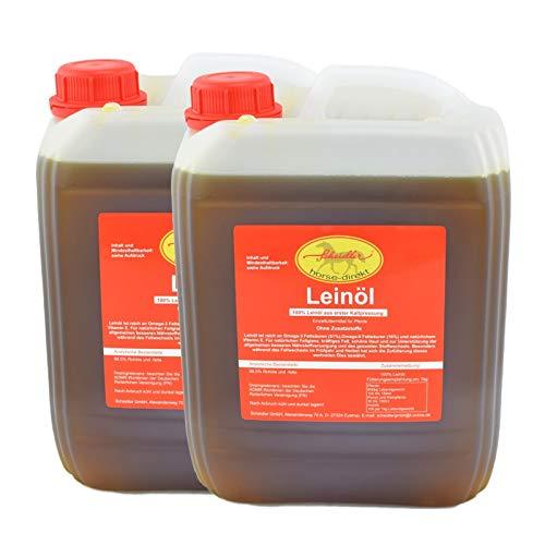 Horse-Direkt Premium Leinöl 10L (2x5 L Kanister) Für Pferde, Hunde & Katzen - Leinsamenöl Kaltgepresst Zum Barfen Fürs Tier - Natürlicher Futterzusatz