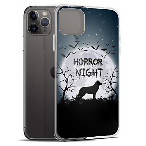 Compatible for iPhone 11 Pro Case Mysterious Moon Night Husky Dog Silhouette TPU Anti-Scratch