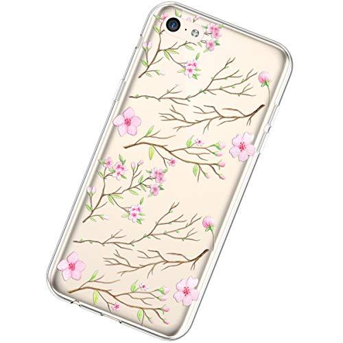 Funda Compatible con iPhone 5C,Carcasa KunyFond Transparente Creativo Flores Diseño Patrón Cristal...