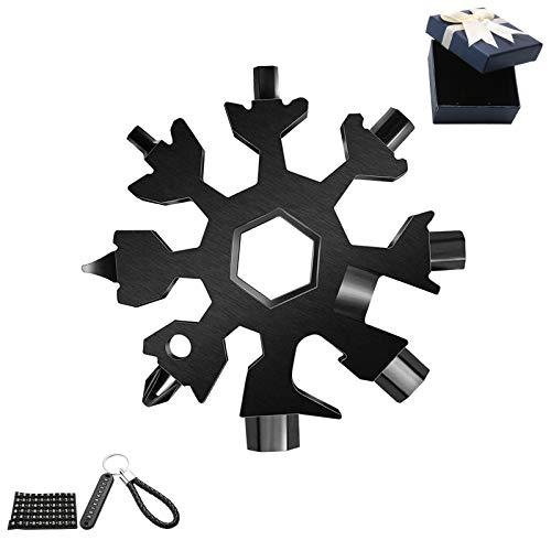 Regalos de Navidad -18 en 1 - Copo de nieve multiusos - Herramienta multiherramienta de acero portátil para viajes de camping (copo de nieve-negro)