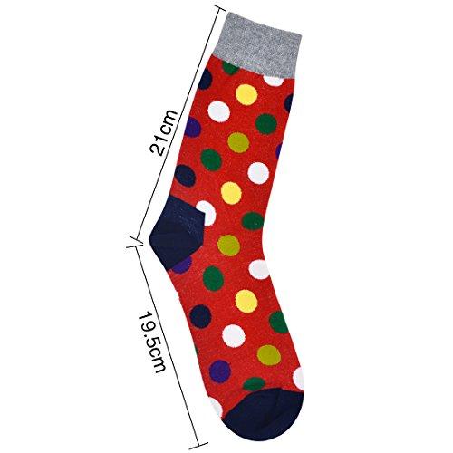 FULIER Mens 5 pack Cotton Rich Smart Design Colourful Comfortable Dress Calf Socks UK 6-13 EUR 39-47 (Dot)(Size: One Size)