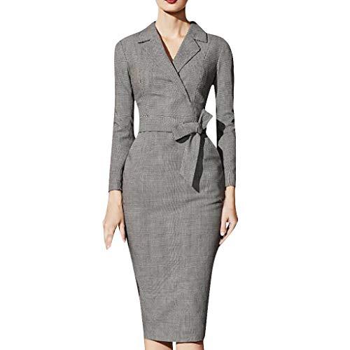 Damen Elegant Bleistiftkleider Winter 3//4 Arm Business Kleider Wickelkleid mit G/ürtel BABYONLINE D.R.E.S.S