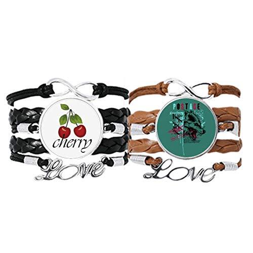 Bestchong Graffiti Street Wolf Blood Illustration Pattern Bracelet Hand Strap Leather Rope Cherry Love Wristband Double Set