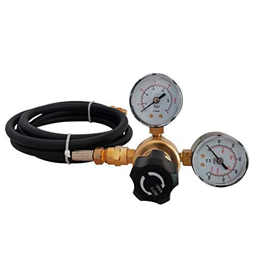 Soiiw Argon CO2 Regulator Instrument Gas Welding Regulator CGA580 Mig Tig Weld 0-4500PSI Compatible with 80inch Hose