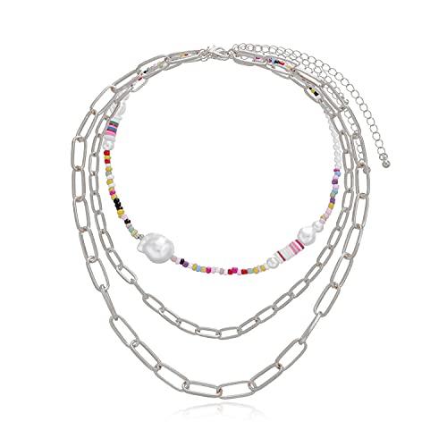 KONZFK collarCollar de Cadena de Perlas Antiguo con dijes Colgantes de Mariposa Joyas de Cuello Plateado para Mujeres Ideas de Regalos de Fiesta