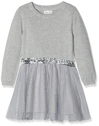 NAME IT Mädchen NKFRALUKKA LS Knit Dress NOOS Kleid, Grau (Grey Melange), 164