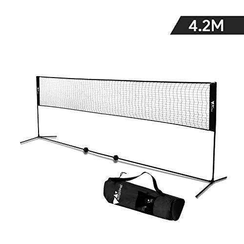 Amzdal Badmintonnetz, 4,2 m Tennisnetz, das Set enthält einen soliden Eisenrahmen, eine Transporttasche und einen Feststehenden Outdoor-Pin. Mehrzwecknetz mit Verstellbarer Höhe und Breite