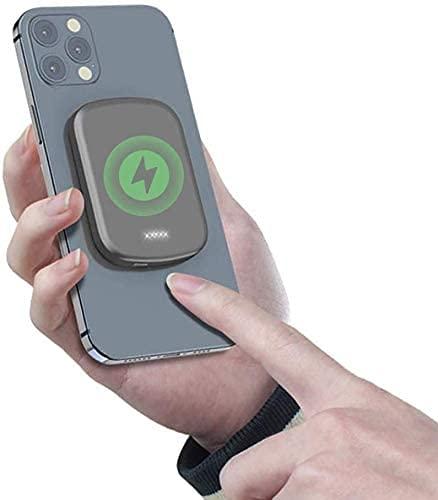 Banco De EnergíA MagnéTico InaláMbrico, 5000/10000 Mah, Fuente De AlimentacióN De Respaldo, Pd+Qc Cargador PortáTil RáPido, Compatible Con Iphone 12/12 Mini/Pro/Max/Iwatch/Airpods (1000 Mah, Gris)