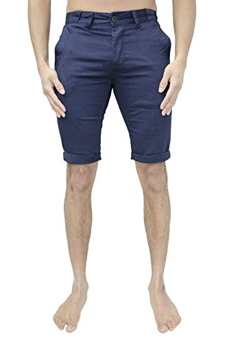 Herren Eto Jeans Chino Shorts Designer Baumwolle Umschlag Stretch Hose 4-farbig - Marineblau, W40 x Regulär