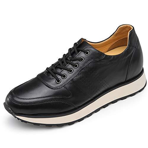 CHAMARIPA Scarpe Uomo con Rialzo 8 CM Interno Tacco Sneakers Casual Pelle Trainer Comfort - Nero Taglia EU 41