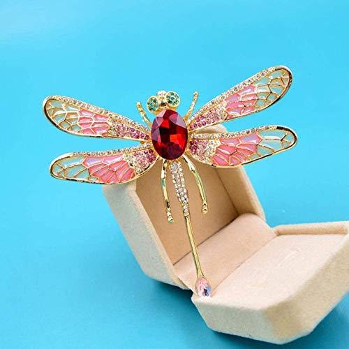 Ikpdbw Broche de libélula de Esmalte Grande, Broche de Insectos de Moda con Diamantes de imitación, joyería Exquisita, Ramillete de Regalo, joyería de Boda, decoración Creativa, Rojo