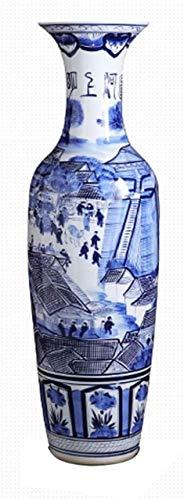 cvhtroe Jarrón mesa de centro de cerámica piso grande de pie clásico para flores secas decoración arte hogar salón hotel dormitorio oficina azul 37 x 120 cm decoraciones
