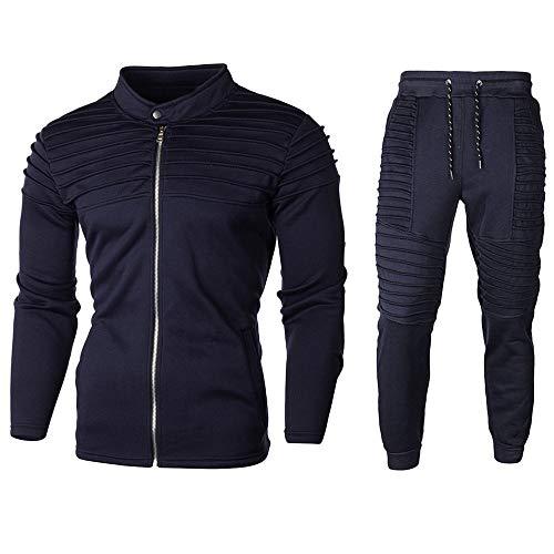 Aiserkly Herren Fitness Jogginganzug Sportanzug Trainingsanzug Herbst Solide Sporthose+Hoodie Warm Tracksuit für Gym und Freizeit Marine L