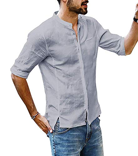 Lueyifs Herren Leinenhemd 3/4 Ärmel Freizeithemd Männer Sommer Hemd Casual Regular Fit Oberteile, Grau, L