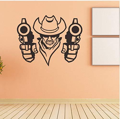 Western Cowboy Creative Vinyl Wall Decal Decoración Para El Hogar Sala De Estar Diy Art Mural Pegatinas De Pared Extraíbles 57X45Cm