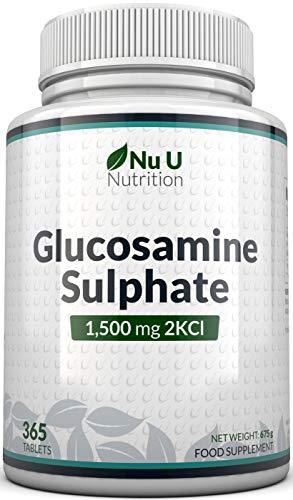 Glucosamina Solfato 1500 mg 2KCl, 365 Compresse (Scorta Per 1 Anno)   Alto Dosaggio   Prodotto nel Regno Unito da Nu U Nutrition