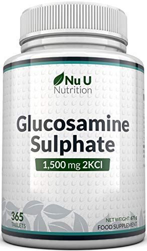 Glucosamine Sulphate 1500 mg 2KCl, 365 Tablets (1 Year Supply) | High Strength Glucosamine Tablets 2KCl | Made in The UK by Nu U Nutrition