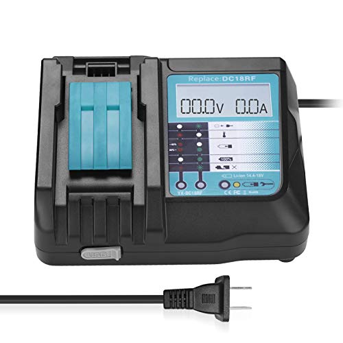 Magolin Upgraded Replacement charger for Makita DC18RF DC18RC BL1830 BL1815 BL1430 With LED Screen 3.5A Charging Current Compatible with Makita 14.4V-18V battery, Makita 18V Drill Battery Charger