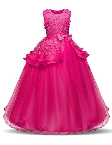NNJXD Vestido de Princesa del Desfile con Encajes sin Mangas Falda de Fiesta para Niñas (7-8 Años, Rose Red)
