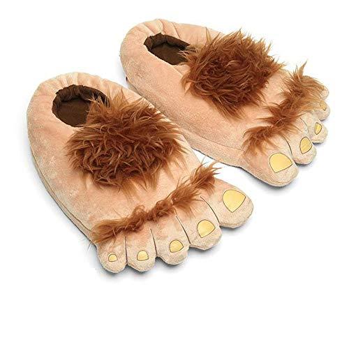 Zapatillas de Geekbuzz Furry Monster Adventure, Cómoda Novedad Cálida Winter Big Hobbit Feet Zapatillas para Adultos (Hombres: 10 UK)