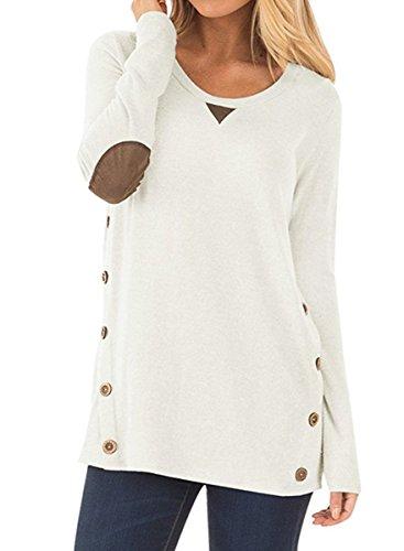 NICIAS Damska bluza z długim rękawem z guzikami, luźna bluzka z okrągłym dekoltem, bluza na łokciach, luźna koszula z tunika