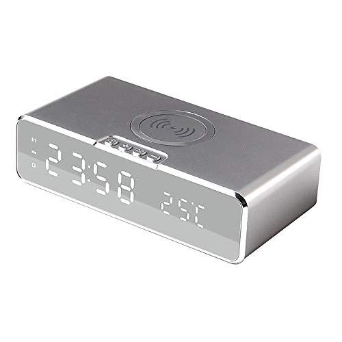 Reloj despertador digital con función de carga inalámbrica compatible con dos alarmas separadas que muestran la temperatura -3