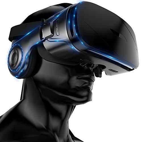 MaiTian Virtuelle Brille, echte vr Brille, Schwarze Tech-Brille, 4D Mobile Spielbrille, 3D-Kino mit Kopfhörer All-in-one, Helmaugen