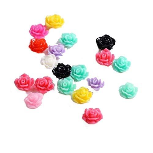 20pcs Nouveau coloré acrylique tranches Fleur Rose 3D Gel UV Nail Art Conseils bricolage Décor ongles Outils de maquillage de beauté