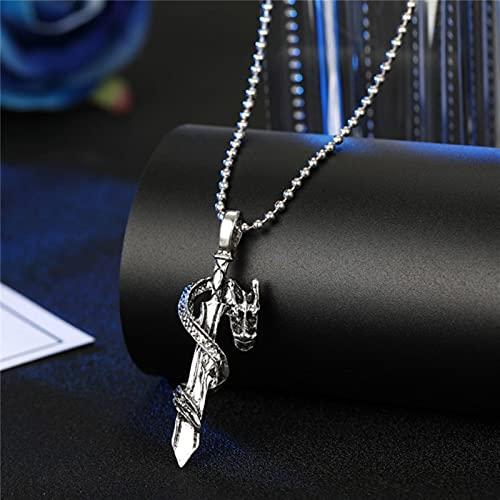 Vintage Cross Skull Snake Halskette Halsreif für Männer Frauen Punk Metal Farbe Zirkon Zepter Big Anhänger Halskette Männlich Schmuck-Pfanne lang