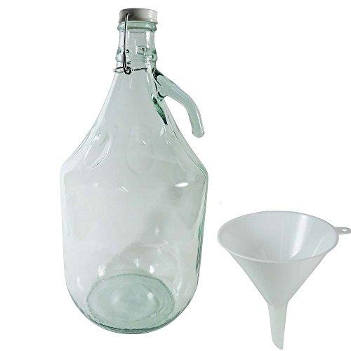 Viva casalinghi - Vino Balloon/damigiana/Bottiglia di Vetro 5 litro con Tappo in Ceramica